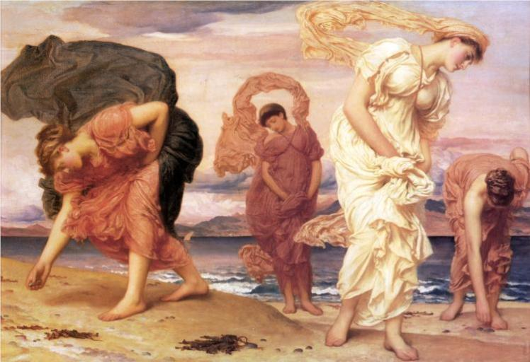 Greek Girls Picking Up Pebbles, Leighton | Strawberry Moon Blog
